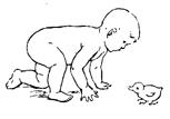 Если ребенок легко ползает самостоятельно, следует создавать ему возможность активно ползать за предметом
