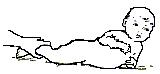 Поворот со спины на живот, придерживая ребенка только за ноги